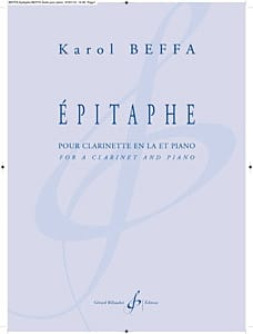 Epitaphe Karol Beffa Partition Clarinette - laflutedepan