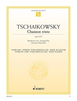Chanson triste op. 40 n° 2 TCHAIKOVSKY Partition Violon - laflutedepan