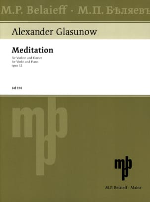 Meditation op. 32 Alexandre Glazounov Partition Violon - laflutedepan