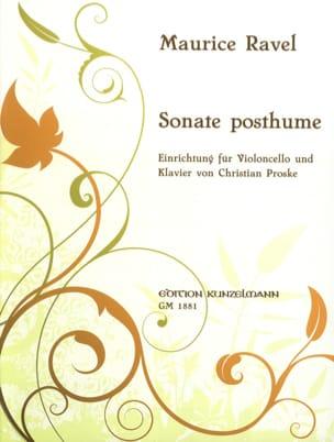 Sonate Posthume RAVEL Partition Violoncelle - laflutedepan