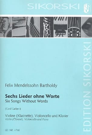 MENDELSSOHN - 6 Lieder Ohne Worte - Partition - di-arezzo.co.uk