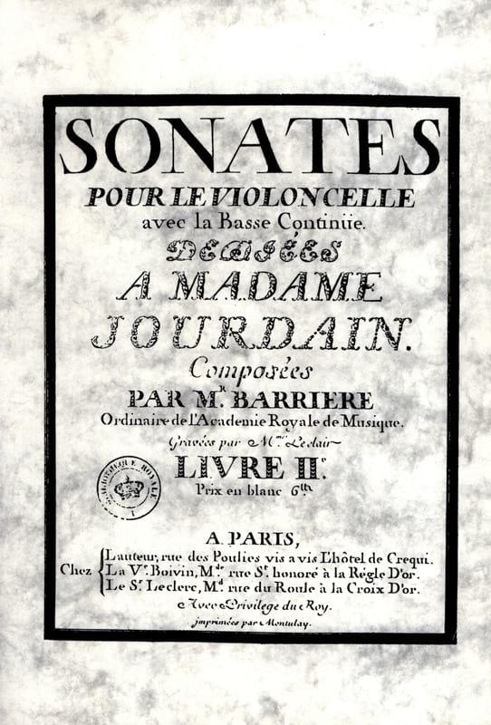 Sonates Livre 2 - Jean Barrière - Partition - laflutedepan.com