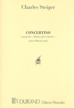 Concertino Charles Steiger Partition Violon - laflutedepan