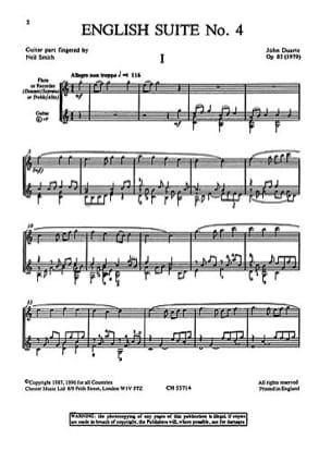 English suite n° 4 - Flute guitar John W. Duarte laflutedepan