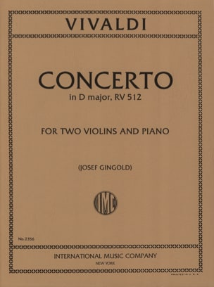 Concerto D major RV 512 -2 Violins piano - VIVALDI - laflutedepan.com