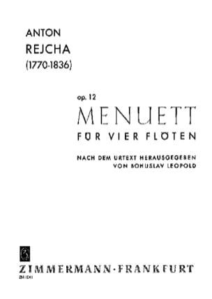 Menuett op. 12 - 4 Flöten REICHA Partition laflutedepan
