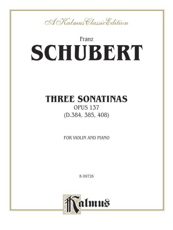 3 Sonatinas op. 137 - SCHUBERT - Partition - Violon - laflutedepan.com
