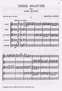 3 Shanties for Wind Quintet - Score Malcolm Arnold laflutedepan