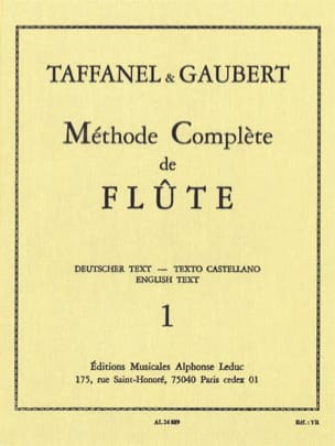 Méthode Complète de Flûte - Volume 1 TAFFANEL - GAUBERT laflutedepan