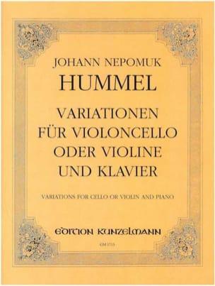 Variationen op. 54 HUMMEL Partition Violoncelle - laflutedepan