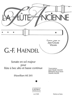 Sonate en sol majeur - flûte à bec alto HAENDEL laflutedepan