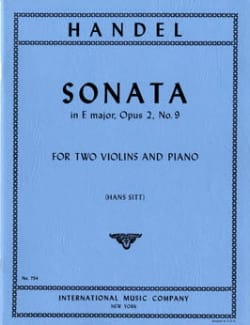 Sonata E major op. 2 n° 9 -2 violins piano HAENDEL laflutedepan