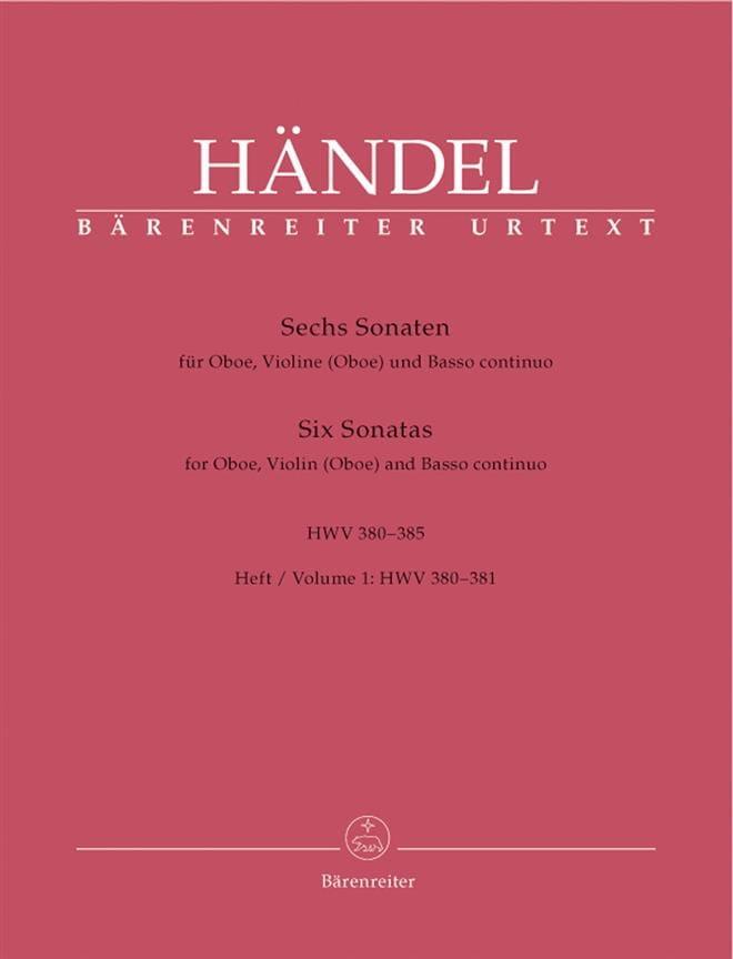 6 Sonaten HWV 380-385 - Heft 1 : 380-381 -Oboe Violine Oboe u. Bc - laflutedepan.com
