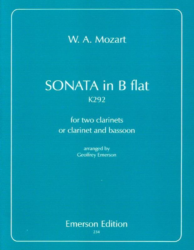 Sonata in B Flat KV 292 - 2 clarinets - MOZART - laflutedepan.com