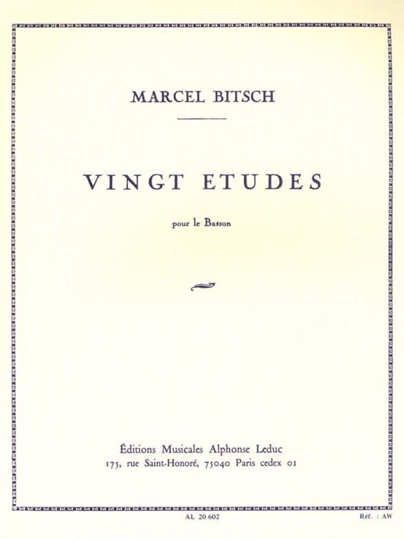 20 Etudes - pour basson - Marcel Bitsch - Partition - laflutedepan.com