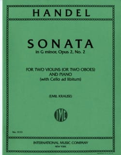 Sonata G minor op. 2 n° 2 -Parts HAENDEL Partition laflutedepan