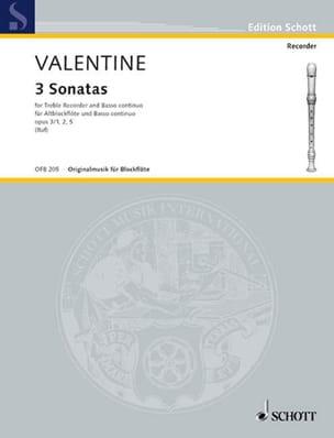 3 Sonates Op.3 N°1-2 et 5 Robert Valentine Partition laflutedepan