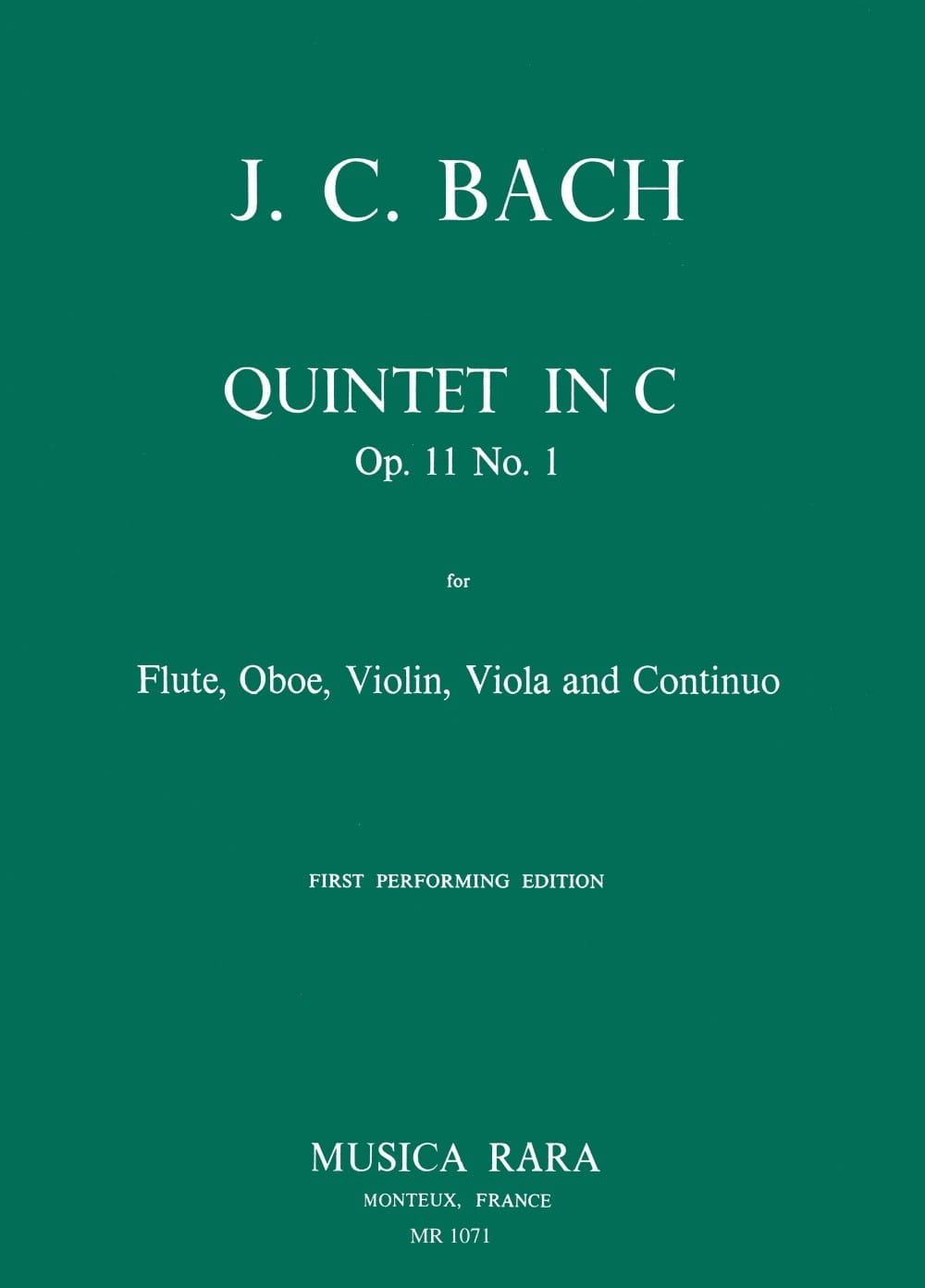Quintet in C op. 11 n° 1 -Flute oboe violin viola Bc - laflutedepan.com