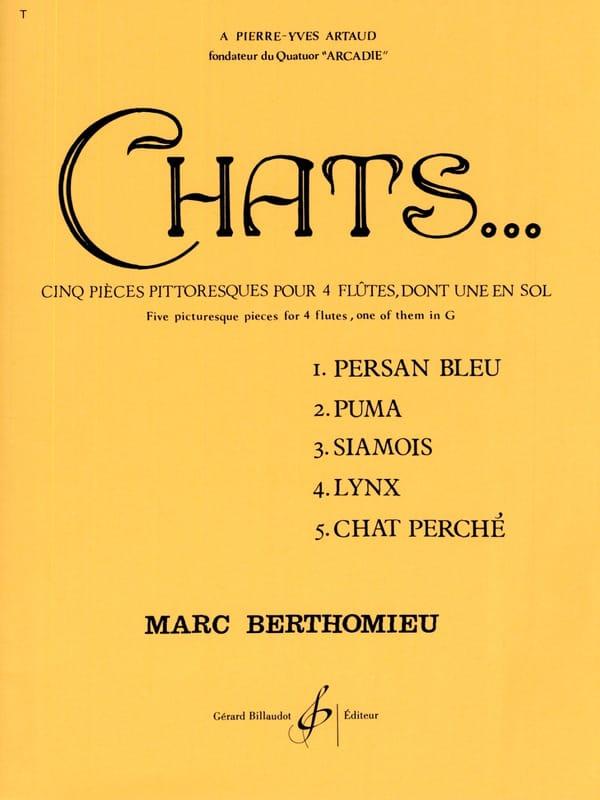 Chats - 4 Flûtes - Marc Berthomieu - Partition - laflutedepan.com