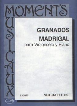 Madrigal GRANADOS Partition Violoncelle - laflutedepan