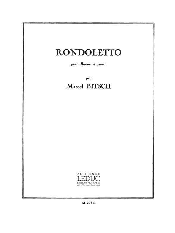 Rondoletto - Marcel Bitsch - Partition - Basson - laflutedepan.com