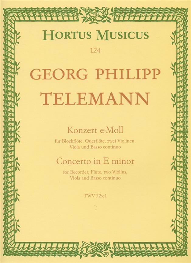Konzert e-moll TWV 52 : e1 - Partitur - TELEMANN - laflutedepan.com