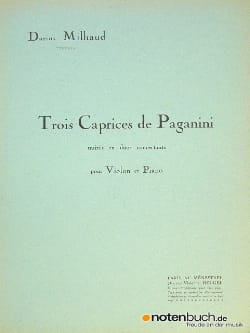 3 Caprices de Paganini MILHAUD Partition Violon - laflutedepan