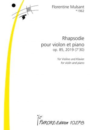 Rhapsodie op. 85 Florentine Mulsant Partition Violon - laflutedepan