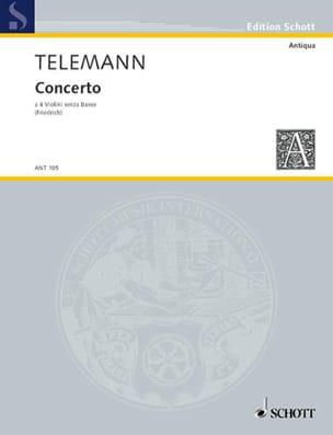 Concerto - 4 Violons Sans Basse Twv40:204 TELEMANN laflutedepan