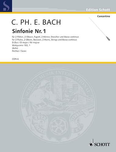 Orchester-Sinfonie n° 1 D-Dur Wq 183 n° 1 - Conducteur - laflutedepan.com
