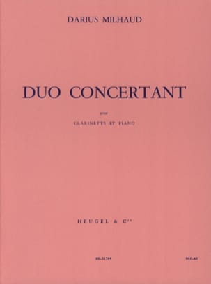 Duo Concertant MILHAUD Partition Clarinette - laflutedepan