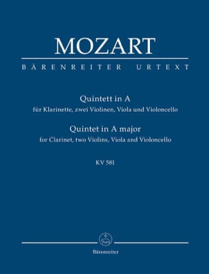 Quintett für Klarinette, 2 Violinen, Viola Und Violoncello. Urtext. laflutedepan