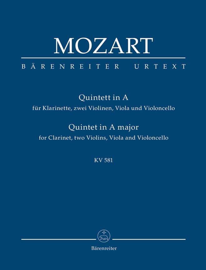 Quintett für Klarinette, 2 Violinen, Viola Und Violoncello. Urtext. - laflutedepan.com