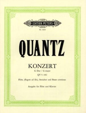 Konzert G-Dur QV 5: 182 - Flöte Klavier QUANTZ Partition laflutedepan
