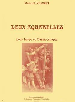 Deux aquarelles Pascal Proust Partition Harpe - laflutedepan