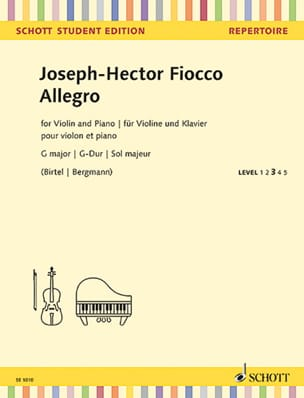 Allegro en Sol majeur Joseph Hector Fiocco Partition laflutedepan