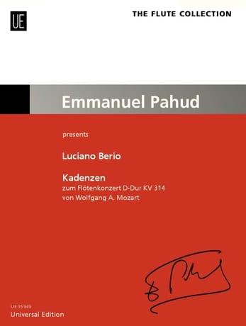 Cadences - Flûte seule - BERIO - Partition - laflutedepan.com