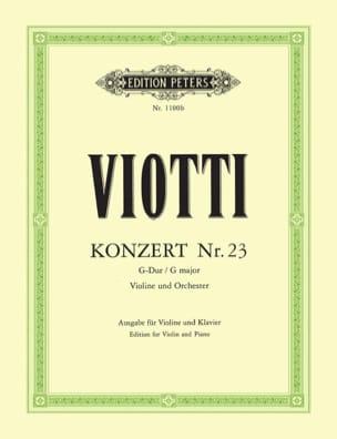 Giovanni Battista Viotti - Violin Concerto No. 23 G major - Partition - di-arezzo.com