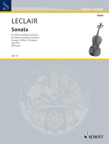 Sonate op. 9 n° 3 ré majeur - LECLAIR - Partition - laflutedepan.com
