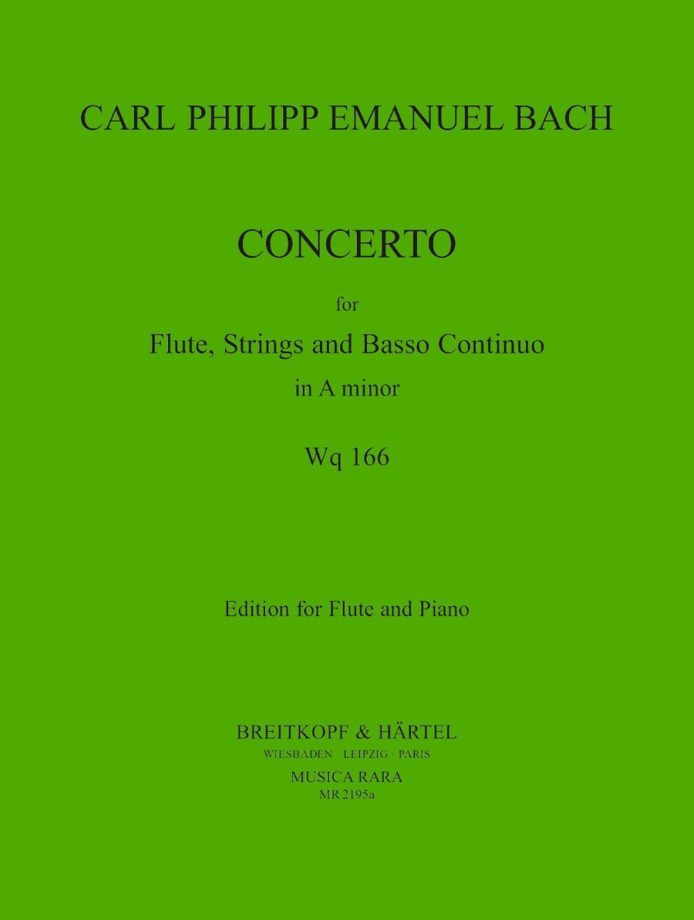 Concerto in A minor Wq 166 - Flute piano - laflutedepan.com
