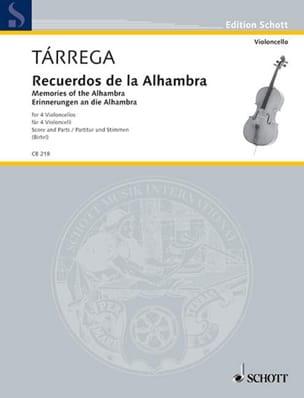 Recuerdos de la Alhambra TARREGA Partition Violoncelle - laflutedepan