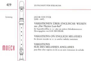 Variations sur des mélodies anglaises Jacob van Eyck laflutedepan