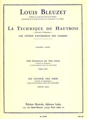 La technique du hautbois - Volume 3 Louis Bleuzet laflutedepan