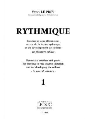 Rythmique - Volume 1 Prev Yvon Le Partition Solfèges - laflutedepan