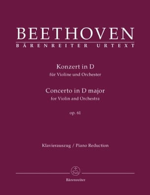 Concerto en Ré Maj. Op.61 BEETHOVEN Partition Violon - laflutedepan