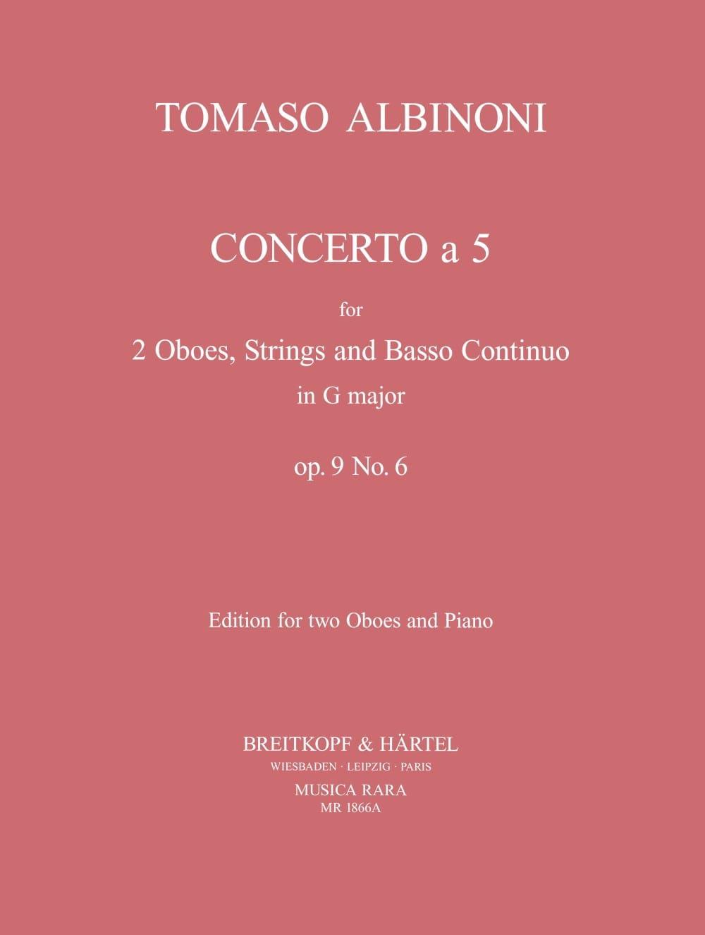 Concerto a 5 op. 9 n° 6 - 2 Oboes piano - ALBINONI - laflutedepan.com