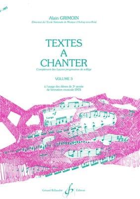 Textes à Chanter Volume 3 Alain Grimoin Partition laflutedepan