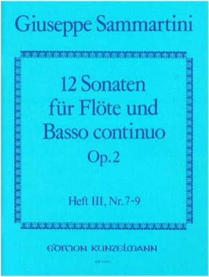12 Sonaten op. 2 - Heft 3 - Flöte u. Bc SAMMARTINI laflutedepan