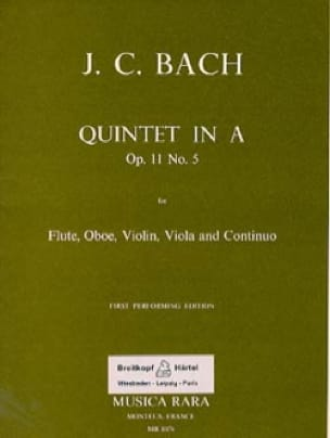 Quintet In A La M., Op. 11 N°5 - Flûte-Hautbois-Violon-Alto-B. C. - laflutedepan.com