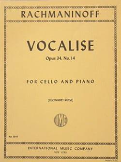 RACHMANINOV - Vocalise op. 34 n ° 14 - Cello - Partition - di-arezzo.es
